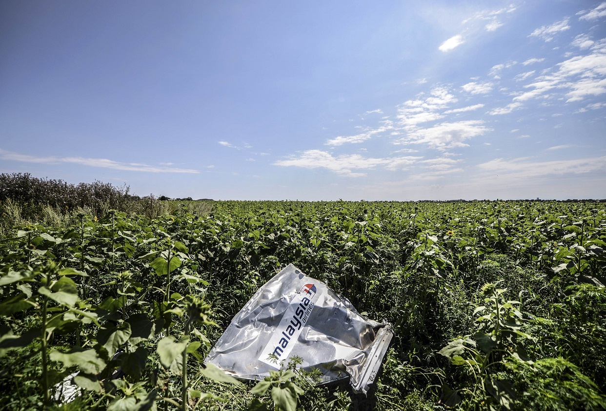 A piece of wreckage from Malaysian Airlines flight MH17 in a field in Ukraine.