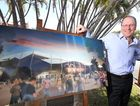 Shaun Gallagher from Populous with the artists impression of the new CQ NRL Bid stadium proposed for Rockhamton. Photo: Chris Ison / The Morning Bulletin