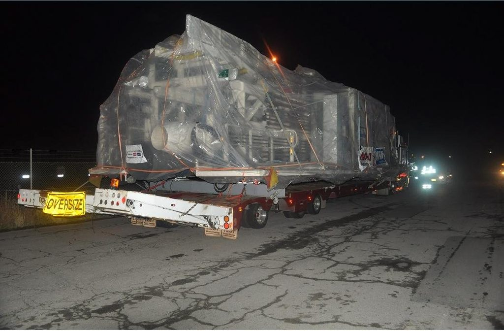 A truck towing a wide load consisting of a tunnel boring machine platform was stopped as part of Operation Arrow 6. Photo Contributed