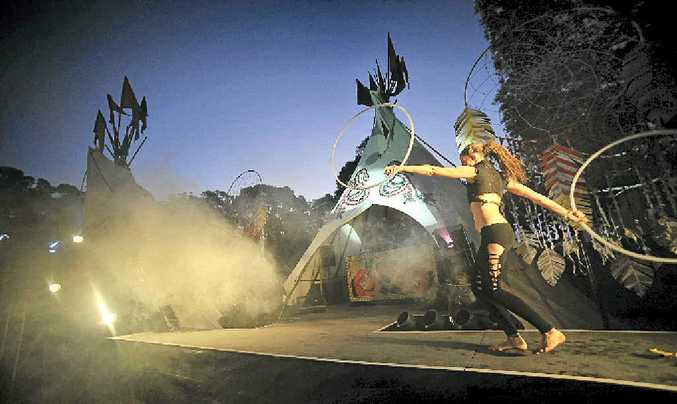 The Tipi Forest offered punters a break from more traditional bands and busking artists at the festival.