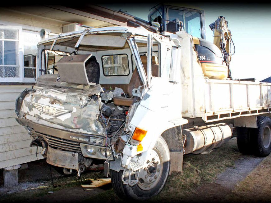 The driver of this light truck was lucky to escape without injury after he crashed into a home on Wood St yesterday.