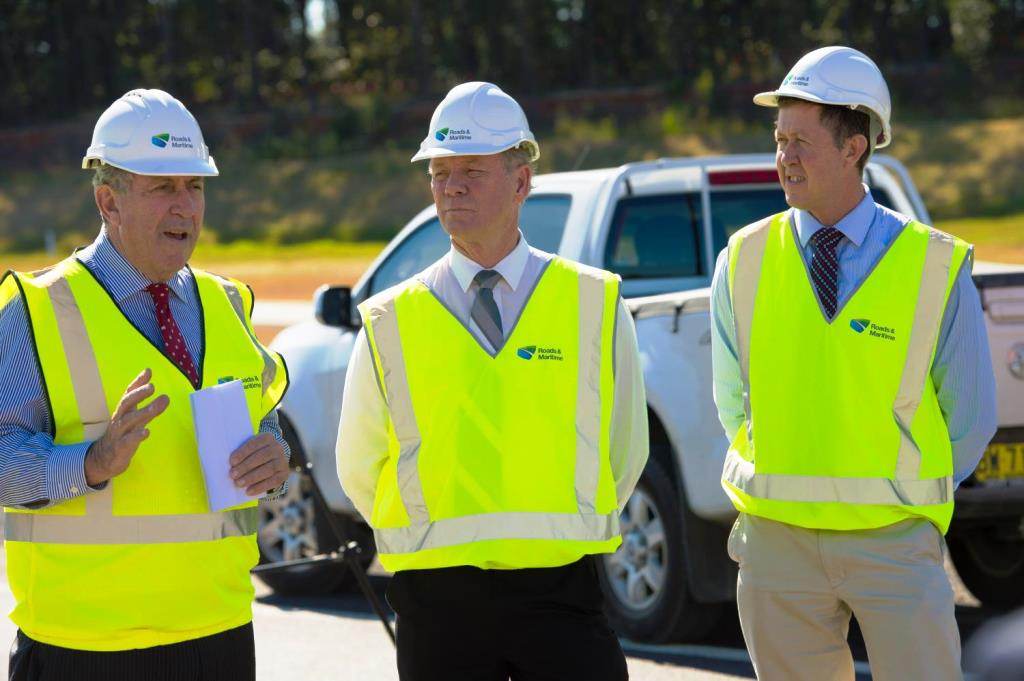 NSW Minister for Roads Duncan Gay joined Cowper MP Luke Hartsuyker and Coffs Harbour member Andrew Fraser to officially declare the Sapphire to Woolgoolga upgrade open as a dual carriageway. Photo: Trevor Veale / Coffs Coast Advocate