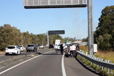 From the scene of a crash on the Sunshine Motorway earlier today.