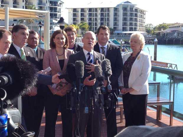 Premier Campbell Newman at a media conference at the Urangan boat harbour.
