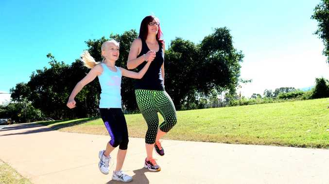 Dallas Bell and her daughter Tyler, age 8, from Rockhampton are heading to Townsville to take part in the Townsville Running Festival and raise money and awareness for Bipolar. Photo Sharyn O'Neill / The Morning Bulletin