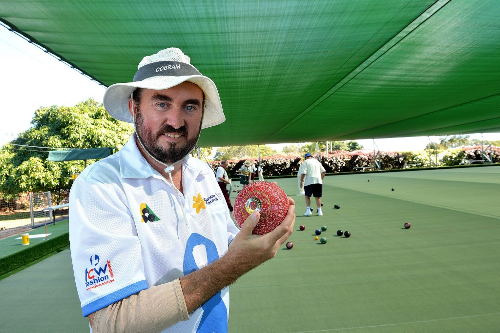 Christopher Thomas is trying to break the world record for playing at the most bowls club. The Buderim Bowls Club hosted Christopher for the day. Photo: Warren Lynam / Sunshine Coast Daily