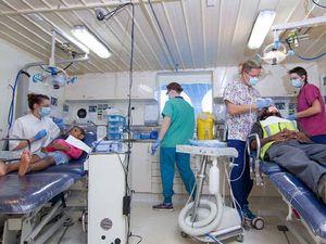 Cruise ship turned floating hospital to visit