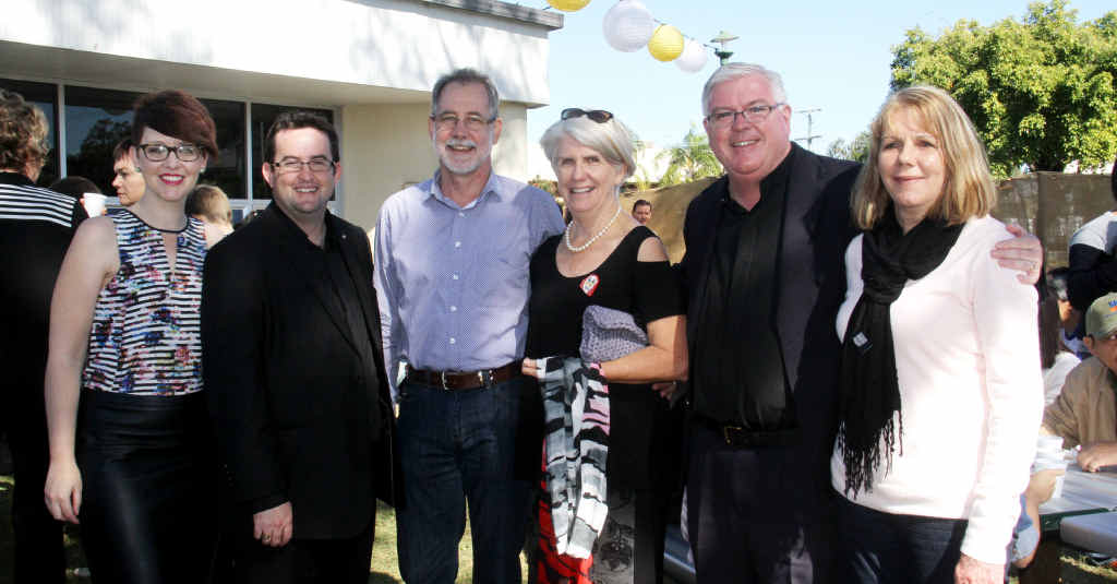 IN HONOUR: Fr Stephen (second from right) celebrates his milestone with Suellen Cusack, Andrew Hogan, John and Vicki Christensen and Fr Stephen's sister Sharon Buckley.