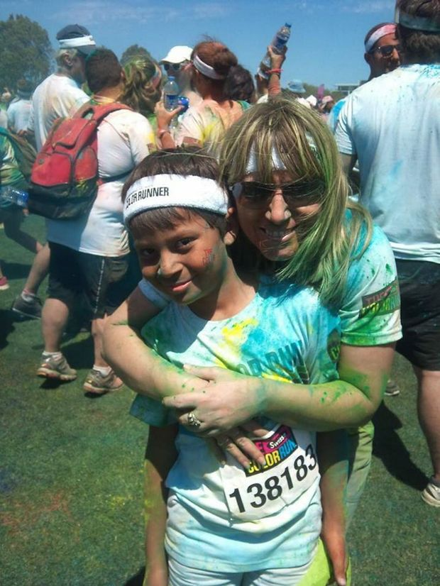 COLOURFUL: Lee-Anne and Sam Thompson took part in The Color Run on the Sunshine Coast last year and are thrilled a similar event, The Color Vibe 5K Run is coming to Bundaberg later this year. Photo Contributed