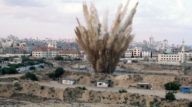GAZA ROCKED: An Israeli missile explodes during the height of the conflict. Photo: Aaron Hollett - ABC News