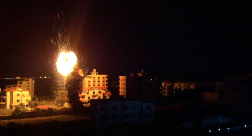 FIGHT: Gaza takes a pounding during an evening of Israeli strikes. Photo: Aaron Hollett - ABC News.