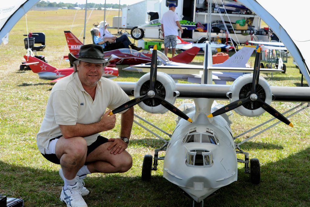 Stephen Thomas with the world's largest remote control plane, PBY Catalina.