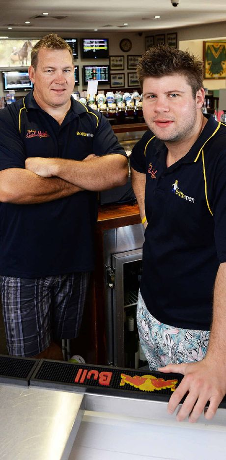 ALL CLEAR: Anthony Fowler and Michael Falvey at the Cecil Hotel in Goodna.