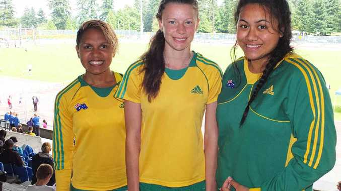 TERRIFIC TRIO: Ipswich and District Athletic Club competitors (from left) Larissa Chambers, Cassie Purdon and Filoi Aokuso during their recent overseas competition representing Australia.