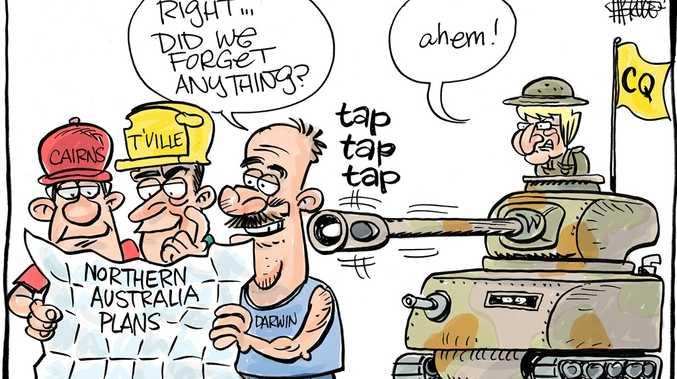 Harry Bruce cartoon about Capricornia MP Michelle Landry declaring war on North Queensland