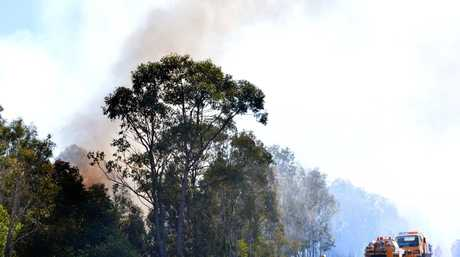 A fire broke out near Peregian Springs and closed the north bound lane of the motorway. Photo: John McCutcheon / Sunshine Coast Daily