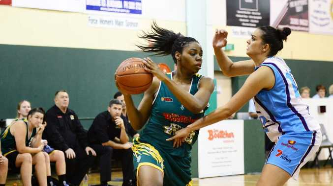 VITAL ROLE: Ipswich Force recruit Brandi Brown, from California, displays her defensive strength against Cairns earlier this season.