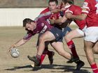 Toowoomba Bears backrower Lachlan Puig crosses for one of his two tries against St George at Heritage Oval yesterday.