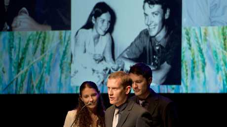 ( from left ) Amanda Koopman, Paul Guard and David Guard. Toowoomba community gathers to celebrate the lives of Jill and Roger Guard . Sunday, Aug 3, 2014 . Photo Nev Madsen / The Chronicle
