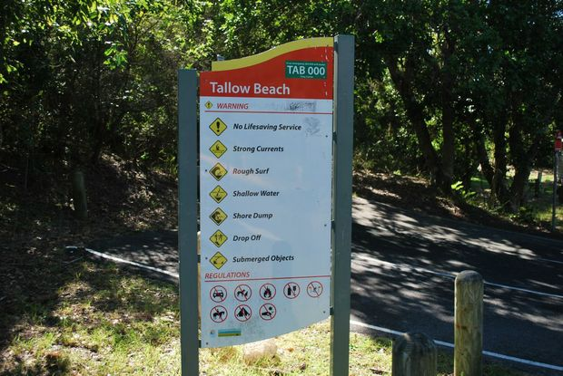 One of the warning signs currently in place at Tallow Beach, Byron Bay.