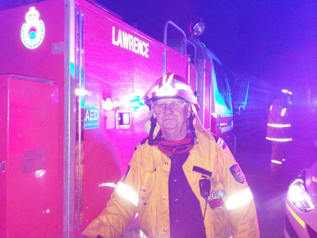 Senior deputy of Lawrence Brigade Bob Neilson at the Carrs St, Yamba, fire on Saturday night.