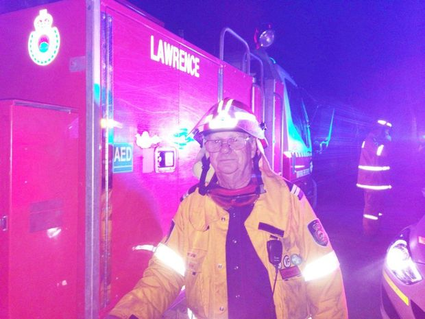 Senior deputy of Lawrence Brigade Bob Neilson at the Carrs St, Yamba, fire on Saturday night.