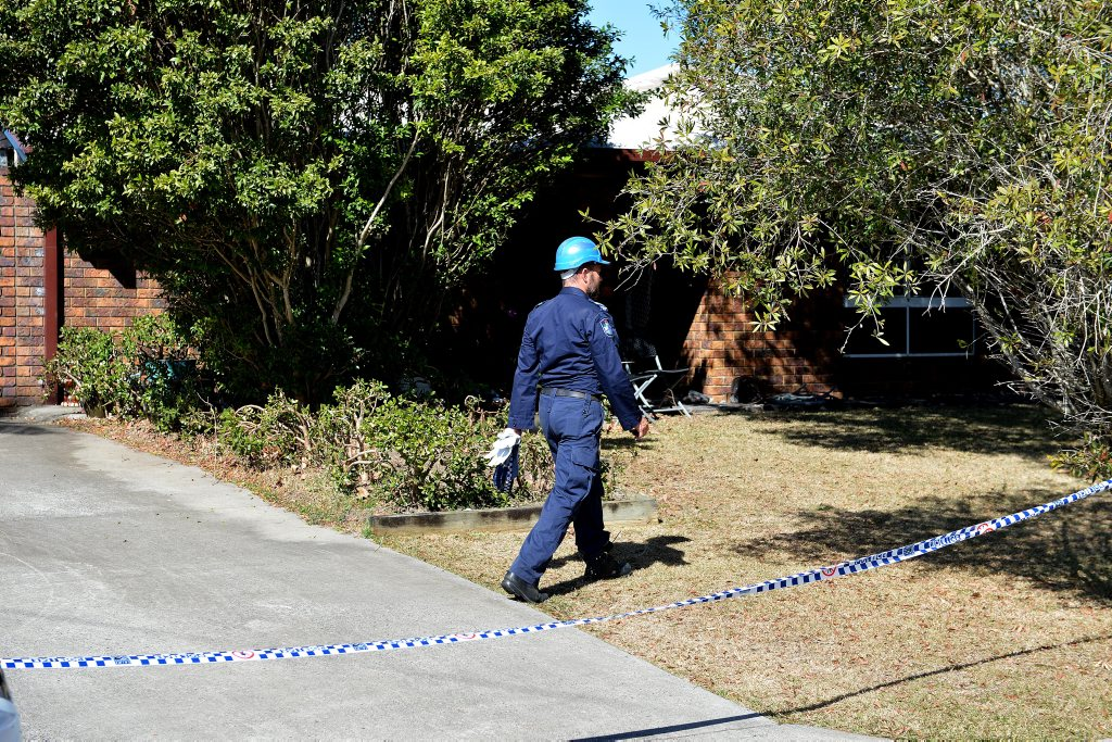 Police at the scene of the fatal house fire in Caboolture. Photo: Warren Lynam / Sunshine Coast Daily