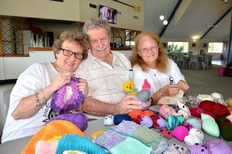 Knit4Charities 10th anniversary meeting at The Maroochy Waterfront Resort. Pam Tatt, Des Tatt and Dian Jones. Photo: Warren Lynam / Sunshine Coast Daily