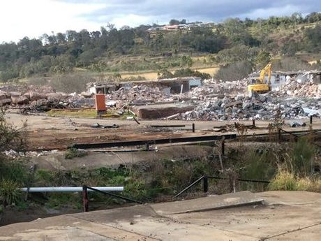 The former KR Castlemaine factory on Mort St has been demolished to a pile of rubble.