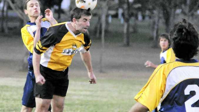 HEADS: Westlawn Tiger James Joyce heads the ball during their 2-1 win over Orara Valley. Photo: Debrah Novak