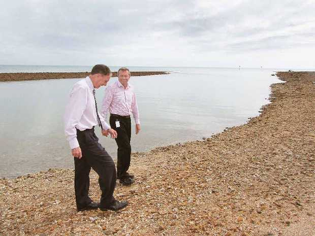 Mayor Gerard O'Connell and councillor Trevor McDonald at Gatakers boat ramp where work will be done to clear silt from the channel.