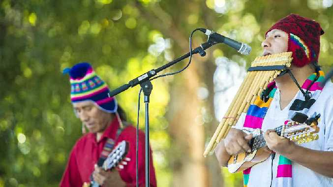 Miguel Ayma, from the Walisuma de Los Andes band, performs at the Gladstone Multicultural Festival.