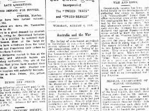 How Tweed Daily News reported the outbreak of World War 1