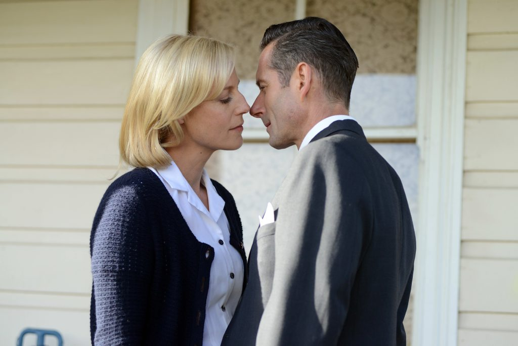 Marta Dusseldorp and Brett Climo in a scene from the TV series A Place To Call Home. Supplied by Channel 7.