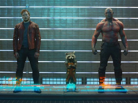 FOR REVIEW AND PREVIEW PURPOSES ONLY. From left, Zoe Saldana, Chris Pratt, Rocket Raccoon (voiced by Bradley Cooper), Dave Bautista and Groot (voiced by Vin Diesel) in a scene from the movie Guardians of the Galaxy. Supplied by Image.net. Ph: Film Frame Marvel 2014