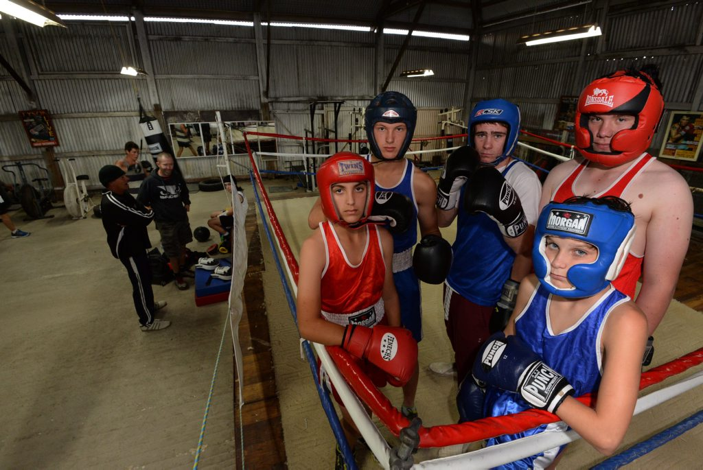FIGHTING FIT: Bailey Dooley, Lochlan Turnbull, mentor Jake Russell, Ricky Reddy and Chandler Daniel are prepared for the Wide Bay titles. Photo: Mike Knott / NewsMail