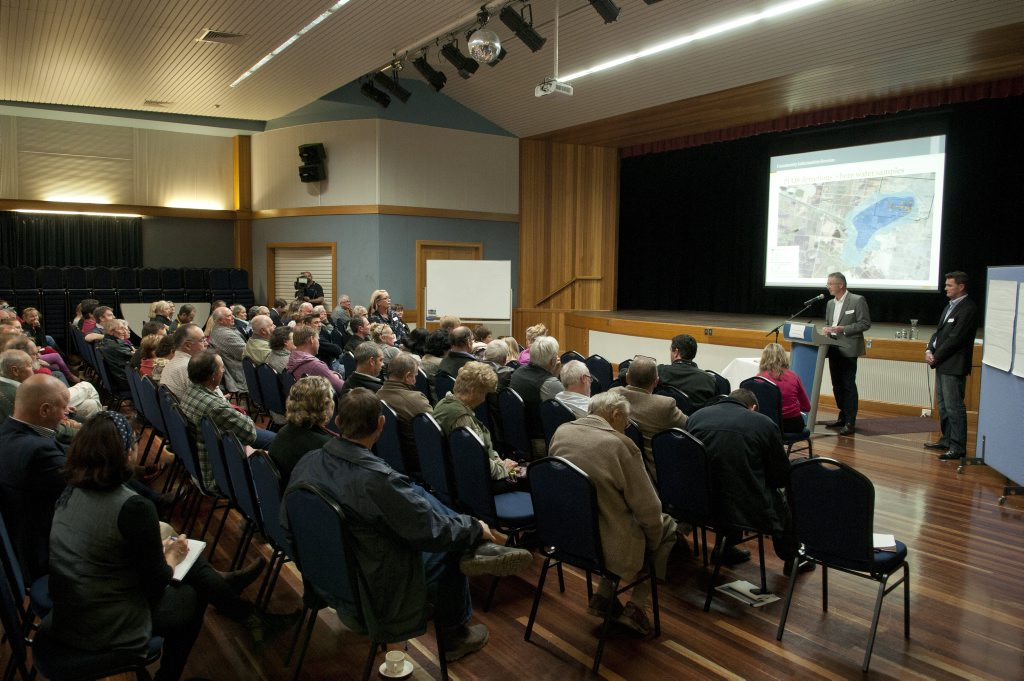 Concerned Oakey residents attend a public information session last week to learn how badly contaminated the town's bore water supply has become.
