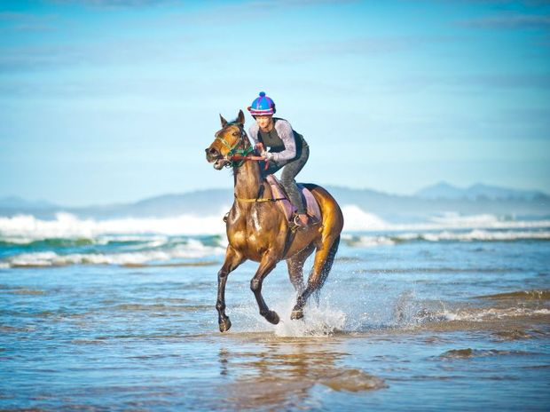Track worker Marnie Toms works Castlemagne King on Coffs Harbours Boambee Beach.