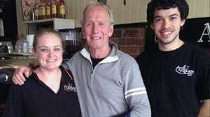 Celebrity Paul Hogan visited Allikats where he posed for a photo with co-owner Alli Duggan and barista Tyler Pask.