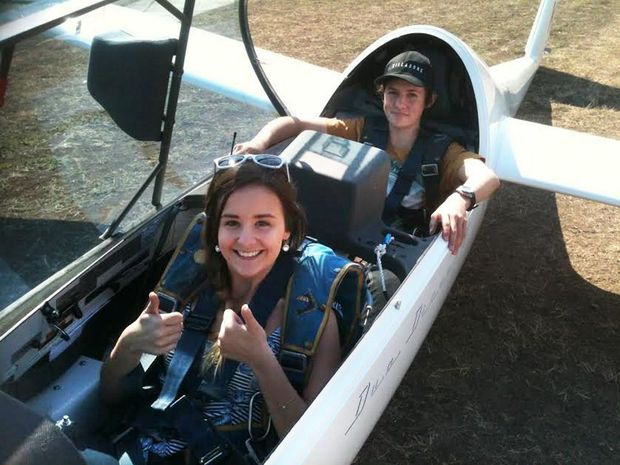 The Queensland Times journalist Anna Hartley hits the skies in a glider. Photo: Contributed