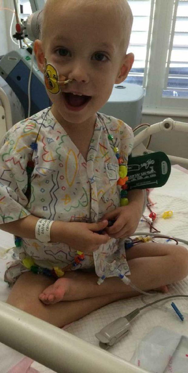 LITTLE BATTLER: Zane in the Royal Children's Hospital in Brisbane.