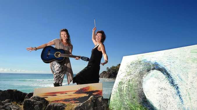 FESTIVAL FUN: Peita Gardiman and Duke Albada at Cabarita Beach for the Coastal creative trail.