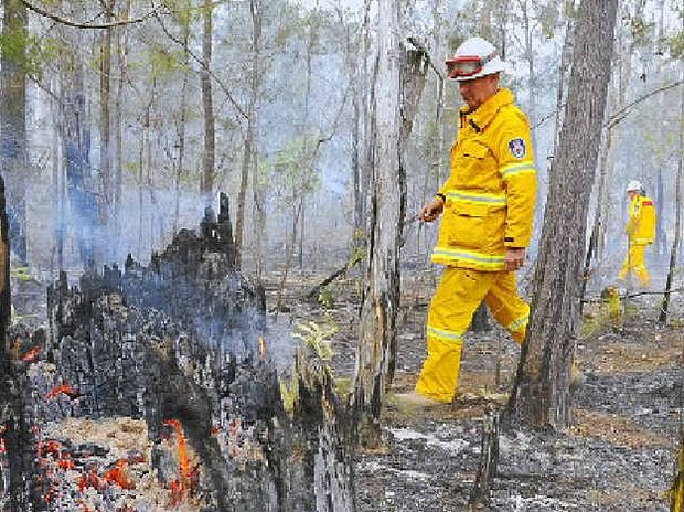SECTION 44: The fire alert for the Clarence Valley on Saturday saw back-burning and making fire trails to head off the fire at Kremnos. Minnie Water and Tucabia fire fighters Keith Connors and Bill Robinson inspect the ground at Lanitza on Sunday.