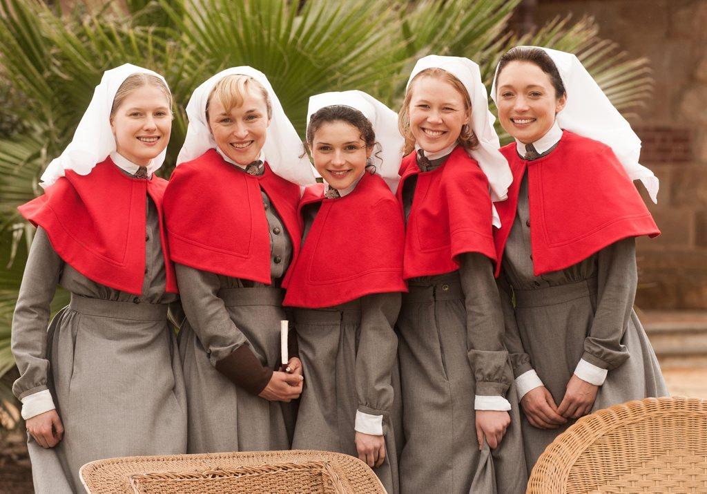 Laura Brent, Caroline Craig, Georgia Flood, Anna McGahan and Antonia Prebble in Anzac Girls.