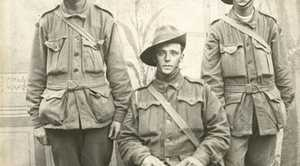 Three members of the AIF in First World War uniform.