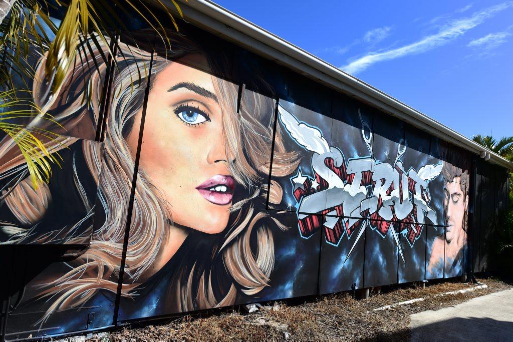 Graffiti art on the side of Strut Hair & Beauty, Beach Rd, Maroochydore. Photo:Iain Curry / Sunshine Coast Daily
