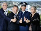CRIME DROPS: State MP Ian Berry, Police Minister Jack Dempsey, Supt Mark Kelly and Ipswich Chamber of Commerce president Anita Dwyer give a thumbs up to drop in local crime.