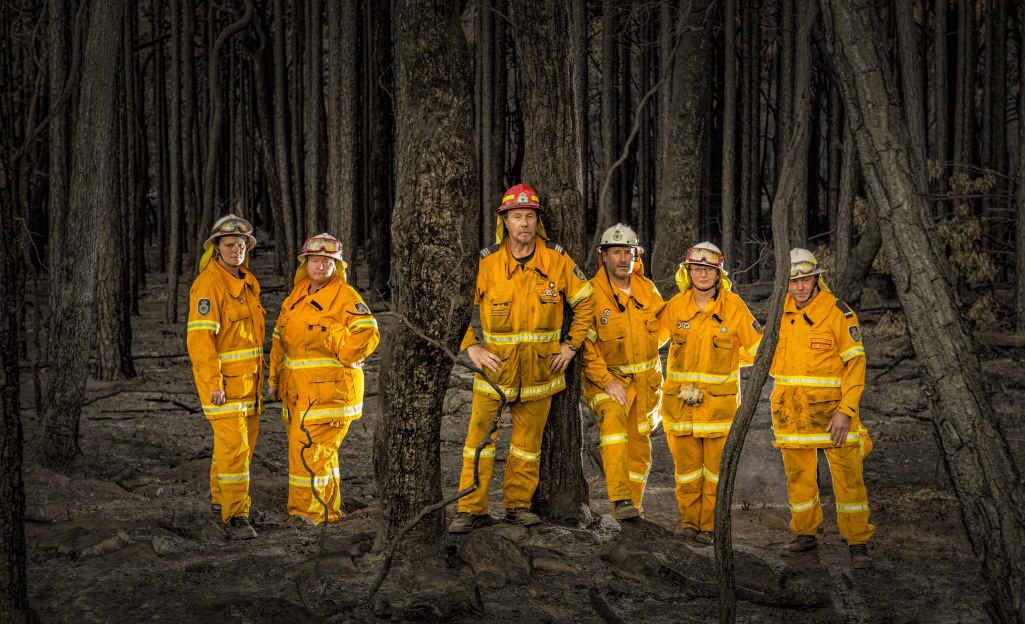 BATTLING ON: RFS members Jenny Lewis, Kylie Chalker, Steve Gardiner, Ton van der Linden, Jeanette Brinkhuis and Ray Morris were some of the many volunteers fighting bushfires over the weekend.