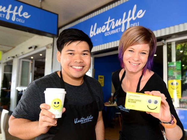 COFFEE BUZZ: Nyll Tabligan and Naomi Geddes from The Blue Truffle are excited to partner with the Chat Room Cafe raising money for a local charity, with $1 from every coffee sold today going to the cause.