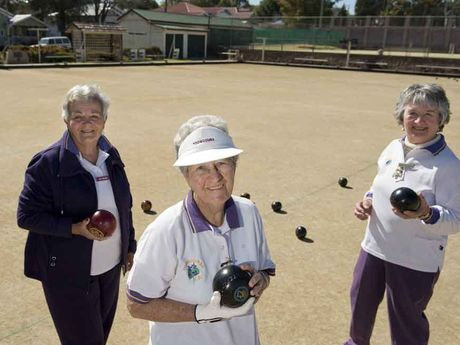 Toowoomba Bowls Club members ladies section junior vice-president Jan Woods, ladies section president Jan Harch and ladies section senior vice president Diane Cunningham